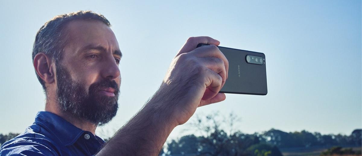 Man Taking Photo With Sony Xperia 1 III